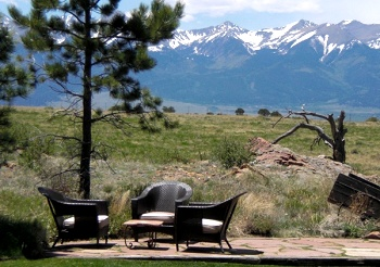View of the mountains from Red Rock Ranch, a premiere Colorado group vacation rental and family reunion location